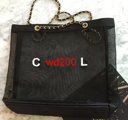 Wholesale Black Mesh Bags - 2017 hot Fashion women Transparent Mesh Chain Shoulder Bags casual tote Designer Brand Luxury Shopping Handbags
