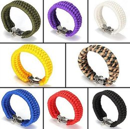 Wholesale Wholesale Chain Shackles - Outdoor safety supplies hand survival camping emergency umbrella bracelet shackle bracelet FB003 mix order 20 pieces a lot Beaded, Strands