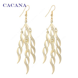 Wholesale Chandelier S - CACANA Gold Plated Dangle Long Earrings For Women S Type Spiral Bijouterie Hot Sale No.A417 A418