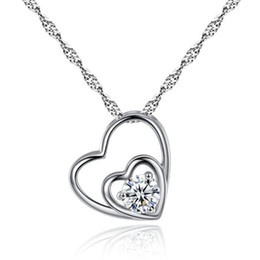 Wholesale Chain Drop Necklace - Hot sale fashion love sterling silver necklaces for women ladies cute heart pendant necklace snap jewelry drop shipping