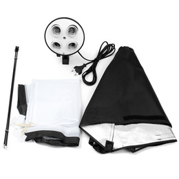Wholesale Kit Lamp Socket - Wholesale- Digital Photo Studio Kit Photography Lighting 4 Socket Lamp Holder + 50x70CM Softbox Photos Soft Box Not Included 2m Light Stand