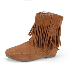 Wholesale Purple Western Boots - 2017 Autumn Winter Suede Leather Fringed Tassel Flat Ankle Boots Woman Short Plush Warm Flats Shoes Female Round Toe Comfort Leisure Booties
