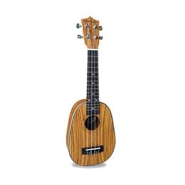 Wholesale Zebra Strings - Wholesale- 21 inch Soprano Ukulele Pineapple version Guitar Zebra wood Stringed instrument hawaii Ukelele mini child Guitarra free shipping