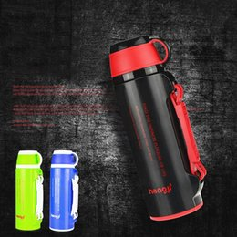 Wholesale Green Flasks - Wholesale- 800ML Japanese thermos my Stainless Steel Vacuum Thermos Flask Black Green Blue big mouth thermos insulated cup big termos