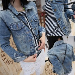 Wholesale Wide Breasted Woman - Wholesale- New 2016 Ladies Denim Jackets Outerwear Jeans Coat Classical Jackets Women Fashion Jeans Coats Rivets Female Jackets