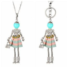 Wholesale Lovely Keychains - Lovely France Dance Doll Necklace Pendant Crystal Doll Pendant New Fashion KeyChains Jewelry For Women Girl Styles Accessories Gifts