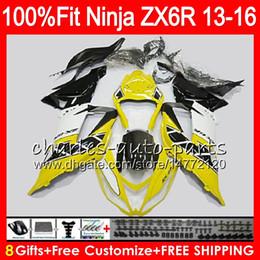 carenado amarillo zx 6r Rebajas 8 inyección de inyección para KAWASAKI NINJA ZX636 ZX6R 13 14 15 16 600CC Amarillo negro 24NO28 ZX 636 ZX-636 ZX-6R 2013 2014 2015 2016 Fairing