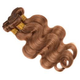 Wholesale Remy Wavy Honey Blonde - Honey Blonde Body Wave Virgin Hair Weave Color 27# Human Hair Body Wavy 3 4 Bundles Remy Hair Extensions