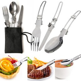 Wholesale Camping Knife Fork Spoon - 3 Pcs  set Portable Outdoor Camping Travel Picnic Foldable Stainless Steel Cutlery Set Spoon Fork Knife Tableware