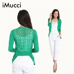 Wholesale Cardigan Sweet Candy - Wholesale-Hot!High Quality Fashion Women Cardigan Lace Sweet Candy Pure Color Sexy Lady Slim Crochet Knit Blouse Sweater Cardigan Coat
