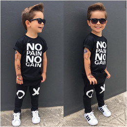 Wholesale Top Kids Clothes - fashion boy's suit Toddler Kids Baby Boy Outfits black hot Clothes No pain no gain letters printed T-shirt Top+XO Pants 2pcs cool child sets