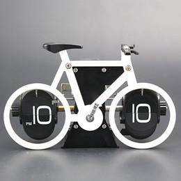 Wholesale Office Desk Styles - Wholesale-Brand New Bicycle Flip Clock Time Adjustment-Set Desk Clocks For Home Office Decor Retro bike Table Clocks Gift