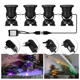 Wholesale- 4pcs Remote Control RGB 36 LED Underwater Spot Light Highly Waterproofing IP68 Tank and Aquarium Landscape Lights EU / US Plug от