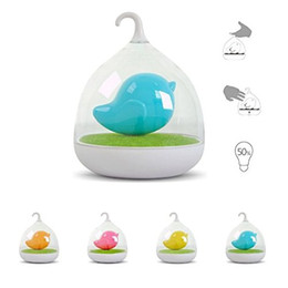 night lamps for kids Promo Codes - Hand-held Design Rechargeable Touch Sensor Vibration 4 colors led Birdcage Lamp LED Bird Night Lights for Kids Touch Dimmer Bedroom Lights