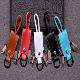 Wholesale Galaxy Keychain - type c Leather Double Keychain USB Cable Data Sync Fast Charging Charger Cable For huawei samsung galaxy s6 s7 s8 edge htc lg