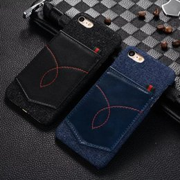 Wholesale Blue Jeans Cover - For iphone 7 iphone7 I7 phone case iphone 6 6s PC Back Cover Genuine Jeans Cowboy pocket Back Mobile Phone Case