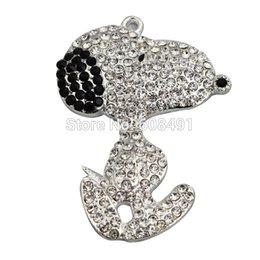 Wholesale Chunky Necklaces Best - Wholesale- Cartoon Rhinestone Pendant Chunky Beads Necklace Pendant 55*40mm Cute Sliver Snoopii Pendant Little Girls Best Gift