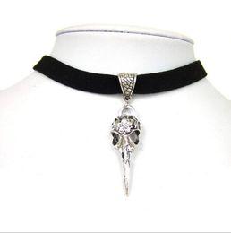 "Wholesale Faux Suede Necklace - 100pcs lot Black 10mm Flat Faux Suede Cord Crow Raven Bird Skull Charms 13"" Choker Necklace 38x13mm"