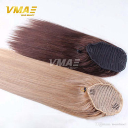 Wholesale Ponytail Hair Extension Blonde - Straight human Ponytail hair Natural Non Remy Hair horsetail tight hole Clip In Drawstring Ponytails Hair Extensions