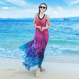 Wholesale Mermaid Suspenders - Sexy Dresses Ruffle 3D Print Gradient Rainbow Beach Skirt, Chiffon Dress, Chiffon Dress Summer Bohemian Suspender Skirt