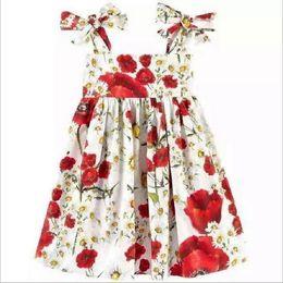 Wholesale Tutus Suspenders - 2017 New Summer Girls Floral Suspender Dress Girl Flower Printed Princess Dresses Kids Sleeveless Vest Dress Children Cotton Skirts 100-150