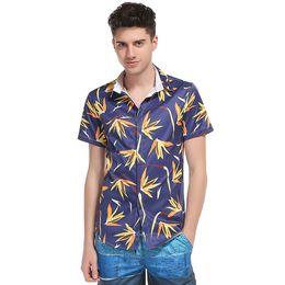 Wholesale hawaii clothes - brand-clothing summer Heat Sell Man Beach Printing Hawaii Wind Short Sleeve cotton casual men slim Shirt camisa Free shipping
