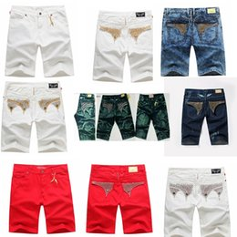 Wholesale Green Loose Beads - New Arrivals Mens Robin Shorts Men's Designer Jean Cowboy Denim Short Pant with Crystal Studs Flap Pockets Cover Wing Clip size 32-42