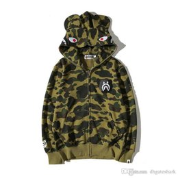 Wholesale Camouflage Jacket Hood - 2017 Men's Tide Brand Camouflage Cartoon Printing Hoodie Sweater Men's Casual Hood Thin Hoodie Jacket Tops Sizes M-2XL