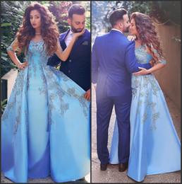 perline di ghiaccio blu Sconti Ice Blue Modern Said Mhamad Abiti da sera 2017 Sheer Jewel Neck con perline Appliques Una linea con gonna oversize Arabo Dubai Formal Prom Gowns