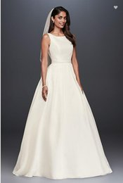 Wholesale Keyhole Front Wedding Dress - New Arrived High-Neck Satin Ball Gown Wedding Dresses WG3879 Bridal Gowns Keyhole Back Detail Sweep Train