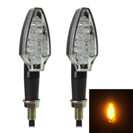 Wholesale Bike Blinker Light - New Arrival 1 Pair Universal Motorcycle Bike Amber 15 LED Turn Signal Indicator Blinker Light CLT_609
