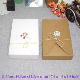 Wholesale Wholesalers For Invitation Papers - 20pcs lot 19.5cmx12.5cmx4cm kraft paper gift box envelope type kraft cardboard boxes package for wedding party invitation cards
