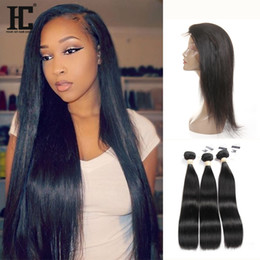 Wholesale Mixed Length Virgin Cambodian - HC 360 Full Lace Frontal Closure With 3 Bundles Brazilian Virgin Hair Weaves Straight 8A Peruvian Indian Malaysian Cambodian Remy Human Hair