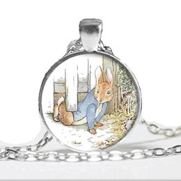 Wholesale Peters Rabbit - 2017 New Fashion Peter Rabbit Pendant Necklace Lovely Rabbit Cute Animal Glass Cabochon Necklace