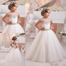 Wholesale Wholes Sales Dresses - Jewel Ball Gown Beaded Sheer Wedding Dresses Custom Made Whole Sale Flower Girl Dresses Little Girl Formal Dresses