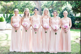 Wholesale Decorate Image - Under 100$ Cheap Romantic Pink Bridesmaid Dresses 2017 Halter Sleeveless Handmade Flowers Decorated Blush Long Bridesmaid Gown 2016