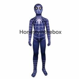 Wholesale child catsuit - Brand New 2017 Children Blue Spiderman Costumes Lycra Spandex Superhero Spider man Zentai Bodysuit For Halloween