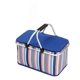 Wholesale Grilling Baskets - Wholesale- New 32L Large Ice Bag Folding Picnic Insulated Bag BBQ Meat Drinks Cooler Bag Folding Basket for Holidays Parties Picnic Grill