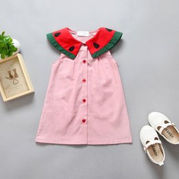 Wholesale Babies Watermelon Costume - 1-5Years Lovely Baby Shirts Watermelon Pattern Dress Children Birthday Cotton Party dresses costume kids New Model Girl Dress