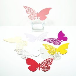 Wholesale Table Decoration Piece - Wholesale 100 pieces a set Original Wedding Table Desk Decal Multicolors Butterfly Cards Paper Decorations Flowers