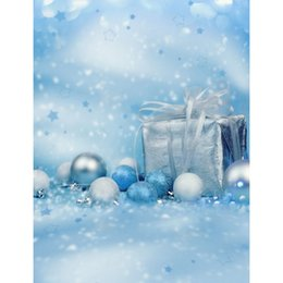 Wholesale Digital Christmas Backdrops - 5x7ft Vinyl Digital Blue Christmas Xma Gift Box Ball Photography Studio Backdrop Background