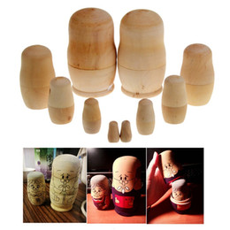 Wholesale Statue Decorations - 5pcs set Unpainted DIY Blank Wooden Russian Nesting Dolls Matryoshka Gift Hand Paint Toys Home Decoration Gifts