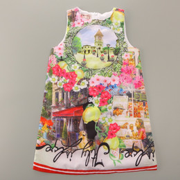 Wholesale Italy Girl Dress - Italy Fashion Flower Print Girl Dress 2017 Summer Girls One-Piece Dresses 2 3 4 5 6 7 8 9 10 Year Sleeveless Girl Clothes