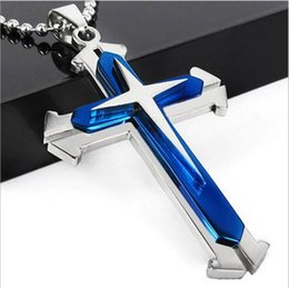 Wholesale Fork Necklace - European and American jewelry men's necklace three-story cross pendant split fork black blue gold with drill necklace pendant