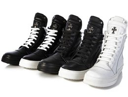 Wholesale Purple Military Boots - 2017 Military boots leather Winter Boots Fog high cut fear of god Boots platform Men women fashion Black White leather shoes size 36-45