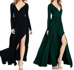 Wholesale Long Sleeved Homecoming Dresses - 2016 classic new explosion of irregular bow long sleeved V collar dress sexy dress color polyester