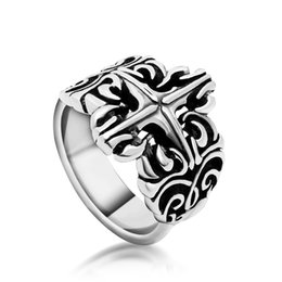 Wholesale Wholesale Stainless Steel Jewellery China - Man Punk Cool Cross Rings For Men Stainless Steel 3D Cross Style Rings Men 2017 Fashion Jewellery Unique Gift