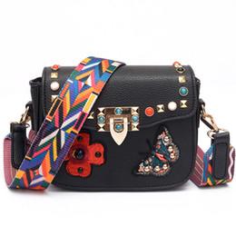 Wholesale Mini Bag Shoulder Strap - rivet crossbody bag famous brand butterfly embroidered bag luxury shoulder strap bags female turquoise name bags leather handbag