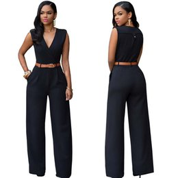 Wholesale Womens Party Clubwear - Wholesale- Womens Sexy Jumpsuit Overalls Sleeveless Casual Rompers Summer V-neck Party Clubwear Belted Jumpsuits Playsuit Bodysuit YF307