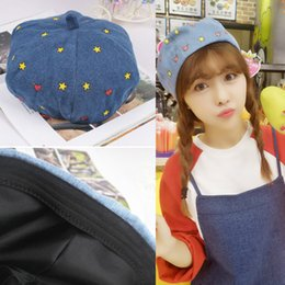Wholesale Korean Stars Cap - Wholesale-Lovely Korean Winter Autumn Woman Girl Beret Star Love All-match Pumpkin Cap Blue Black Artist Hat 4 Style